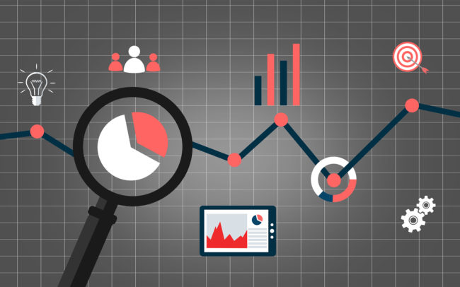 Web analytics concept with data icons