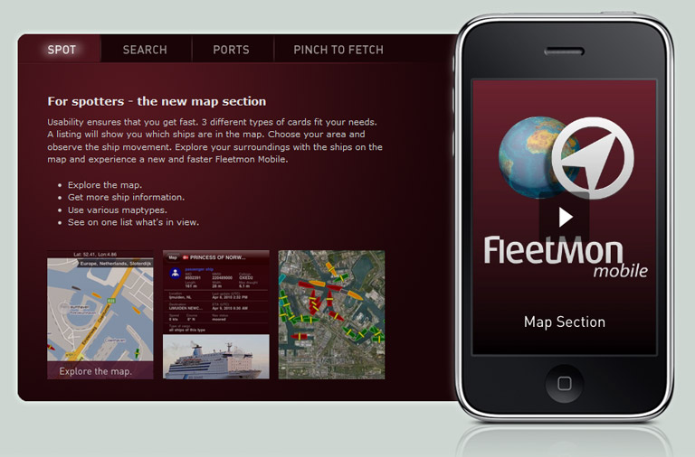Fleetmon mobile iPhone App Webseite Screenshot