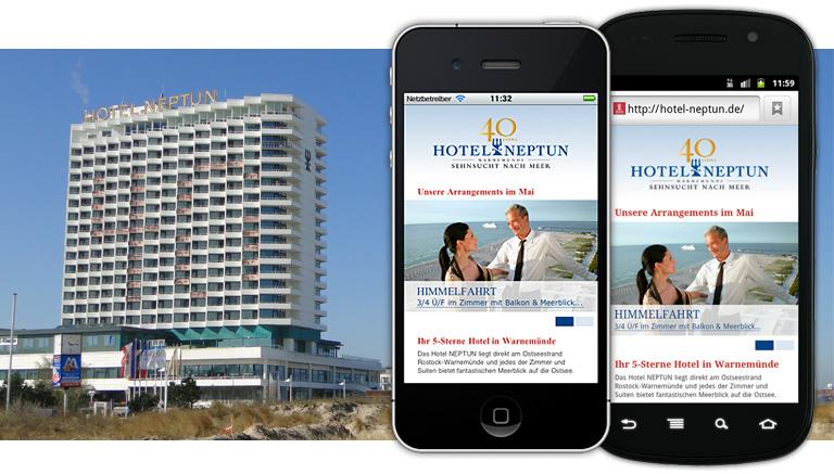 Besuchen Sie die Webseite des Hotel Neptun mit Ihrem Smartphone