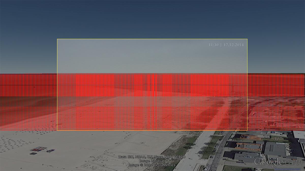 Jeder rote Pixel entspricht einer Pixelkoordinate, der ein Längen- und Breitengrad zugeordnet werden konnte.