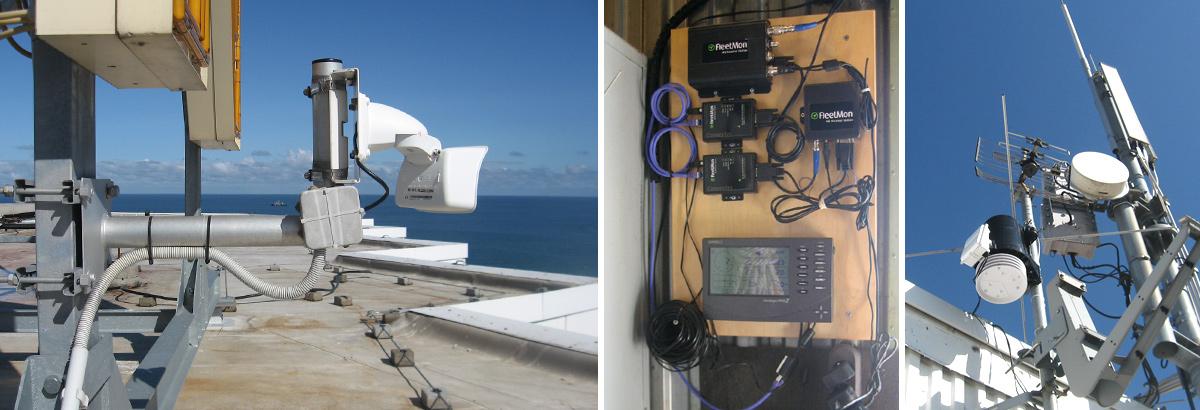 Installation der Wetterstation, der Webcam und der AIS Antenne auf dem Dach des Hotels