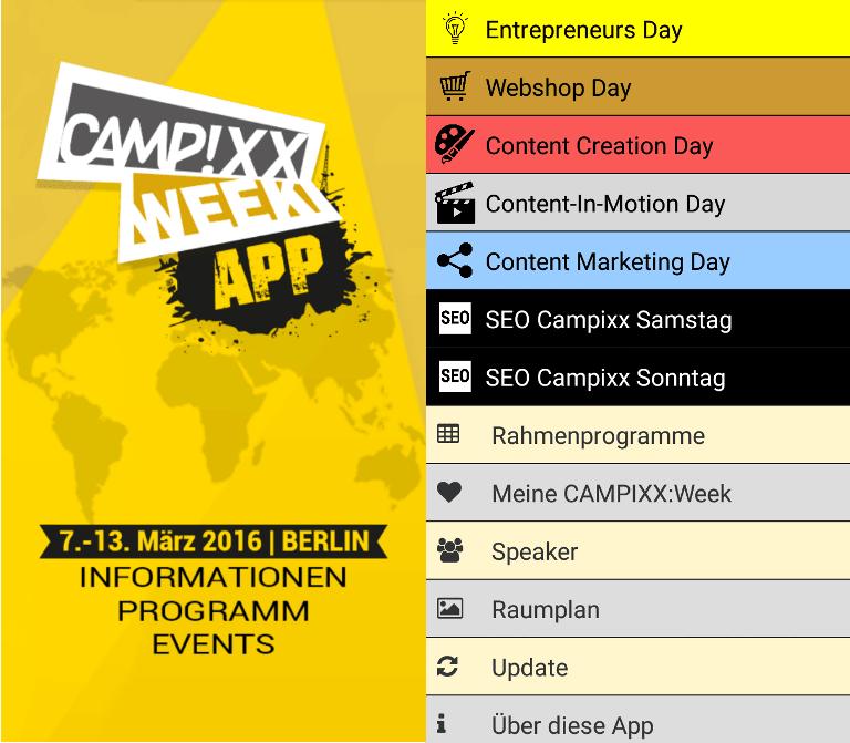 Die APP der Campixx-Week 2016 ermöglichte eine guten Überblick über die Vorträge, den Raumplan und das Rahmenprogramm.
