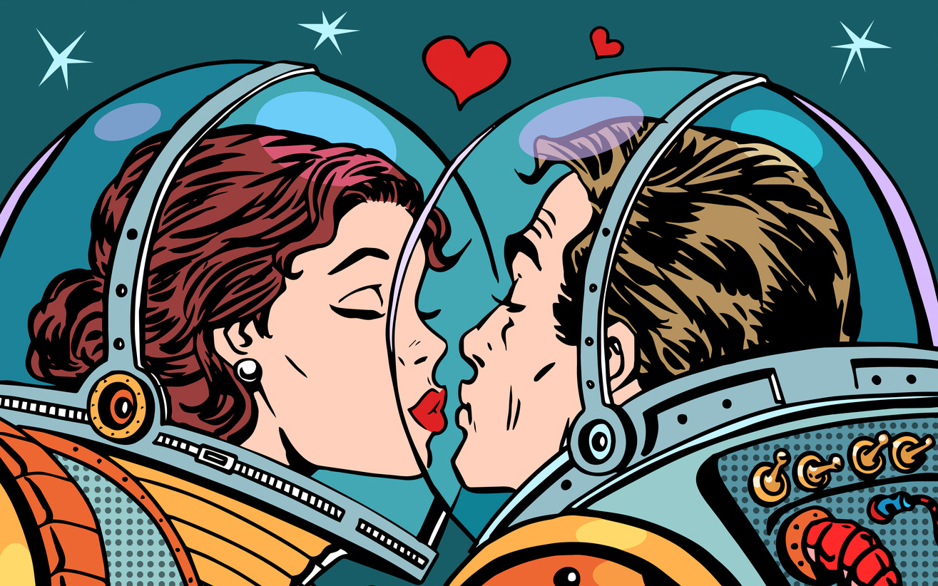 Kiss space man and woman astronauts