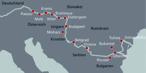 Donau-Flussschiffe informieren über den Standort